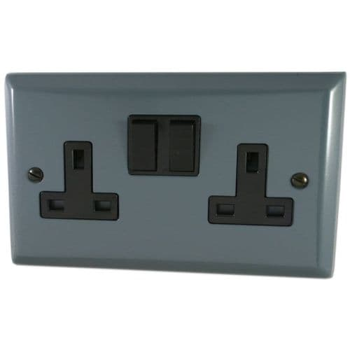 G&H SDG10B Spectrum Plate Dark Grey 2 Gang Double 13A Switched Plug Socket